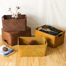 Seaweed woven storage box retro rectangular rattan bamboo basket bathroom finishing