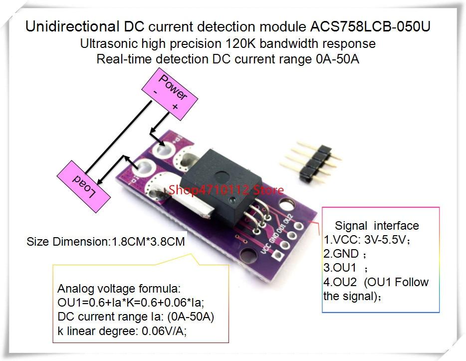 NEW 1PCS/LOT ACS758LCB-050U ACS758 ACS758LCB-050 ACS758LCB 050U 120 KHz Bandwidth  DC: 0-100A   0.06V/1A