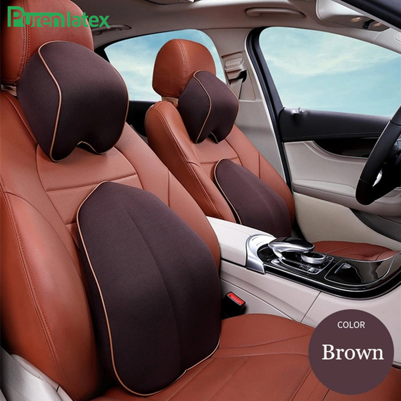 Memory Foam Waist Back Car Driving Cushion Headrest Set Lumbar Neck Support Pillow Vertebra Spine Protect Auto Backrest
