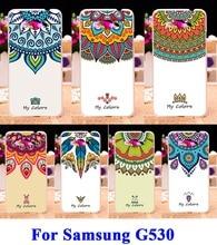 DIY Pintado Plastic & TPU Macio Casos de Telefone de Silicone Para Samsung Galaxy Grande Duos Prime G5308 G530 5.0 polegada Capa Cores flores
