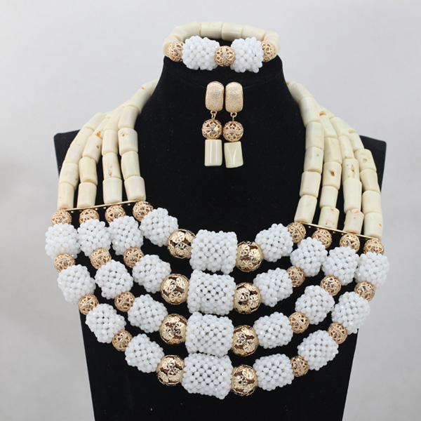 African Wedding Jewelry Set Fabulou 4 Layers White Nigerian Coral Crystal Beads Bridal Party Event Jewelry Set Free ShipABL892