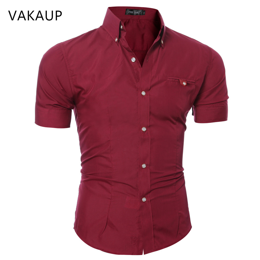 2019 Spring And Summer Men Short Sleeve Shirt Pocket Decoration Solid Color Lapel Slim Casual Men's Short Sleeve Shirt