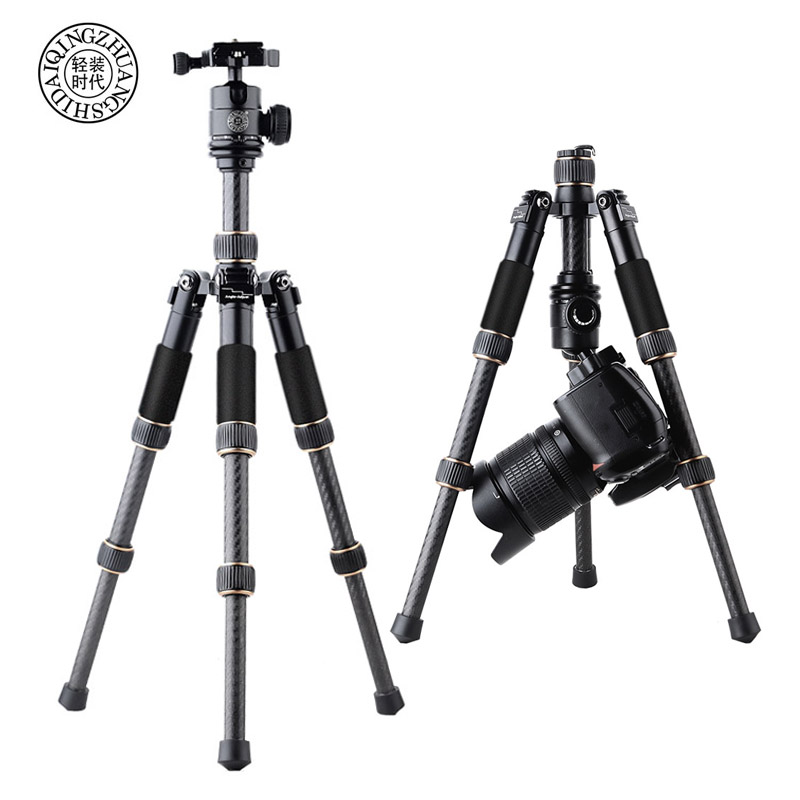 QZSD Q166C Mini Professional Carbon Fiber Camera Tripod Extendable Travel Video Tripod With Ball Head And Quick Release Plate