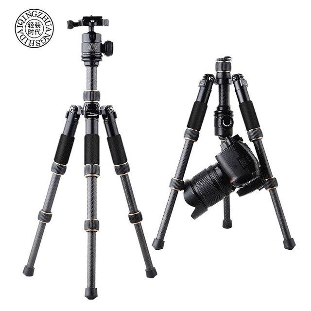 كاميرا فيديو احترافية صغيرة QZSD Q166C من ألياف الكربون ترايبود قابلة للتمديد للسفر مع رأس كروية ولوحة إطلاق سريعة