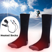 1 Pair 3.7v 2200mah Rechargeable Battery Heated Socks, Electric Feet Warmers Leg Warmer, 5 9h Keep Warm Winter Socks Men Women