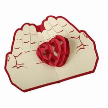Valentine day christmas card red heart pop up card 3D  handmade greeting cards christmas gift  A3