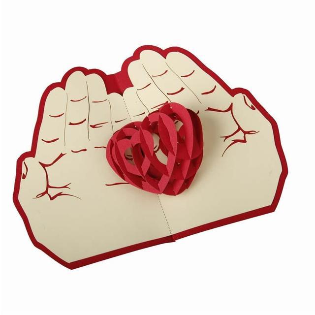 Valentinstag Weihnachten Karte Rote Herz Pop Up Karte 3D Handmade  Grußkarten Weihnachtsgeschenk A15