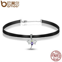 BAMOER Fashion 925 Sterling Silver Cute Dragonfly Pendant Black Choker Necklace Women Necklaces Pendants Jewelry SCA011