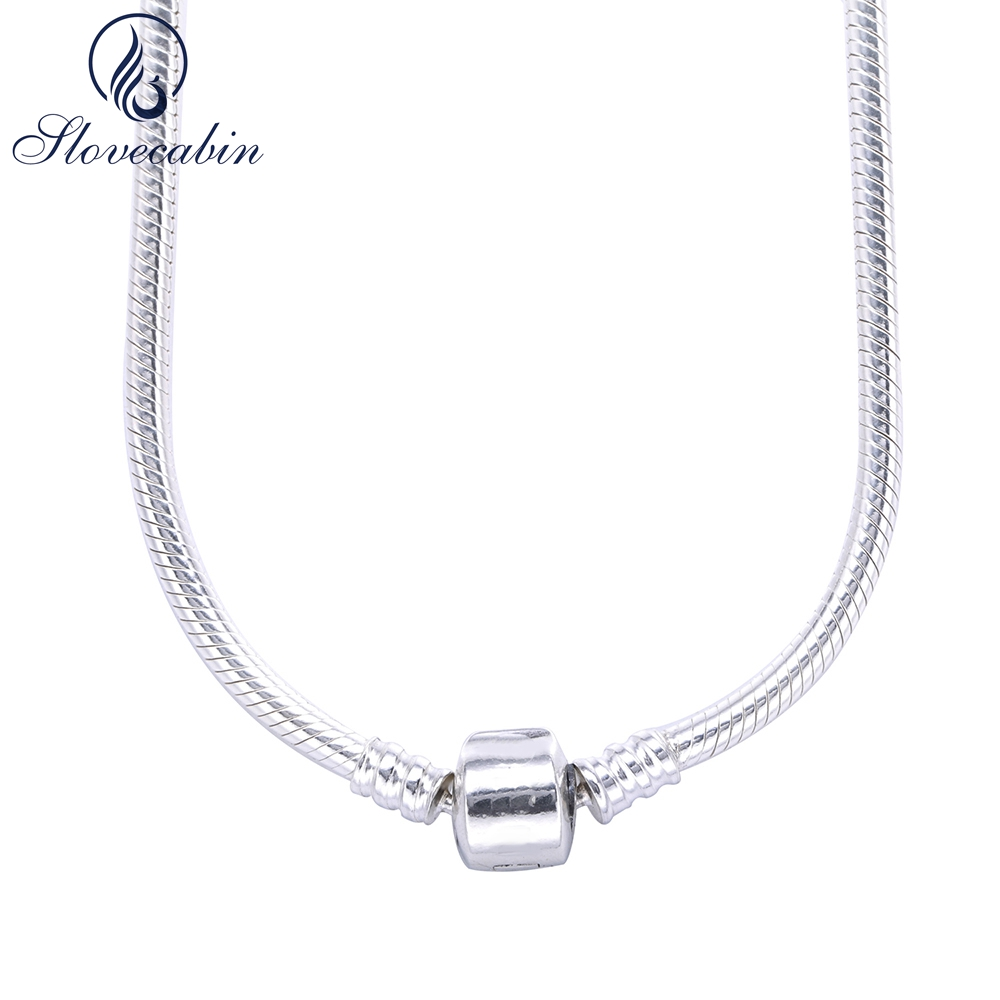 Slovecabin Europe Classic 925 Sterling Silver Snake Charm Necklace With Clasp For Men 2017 Popular Silver Snake Chain Necklace