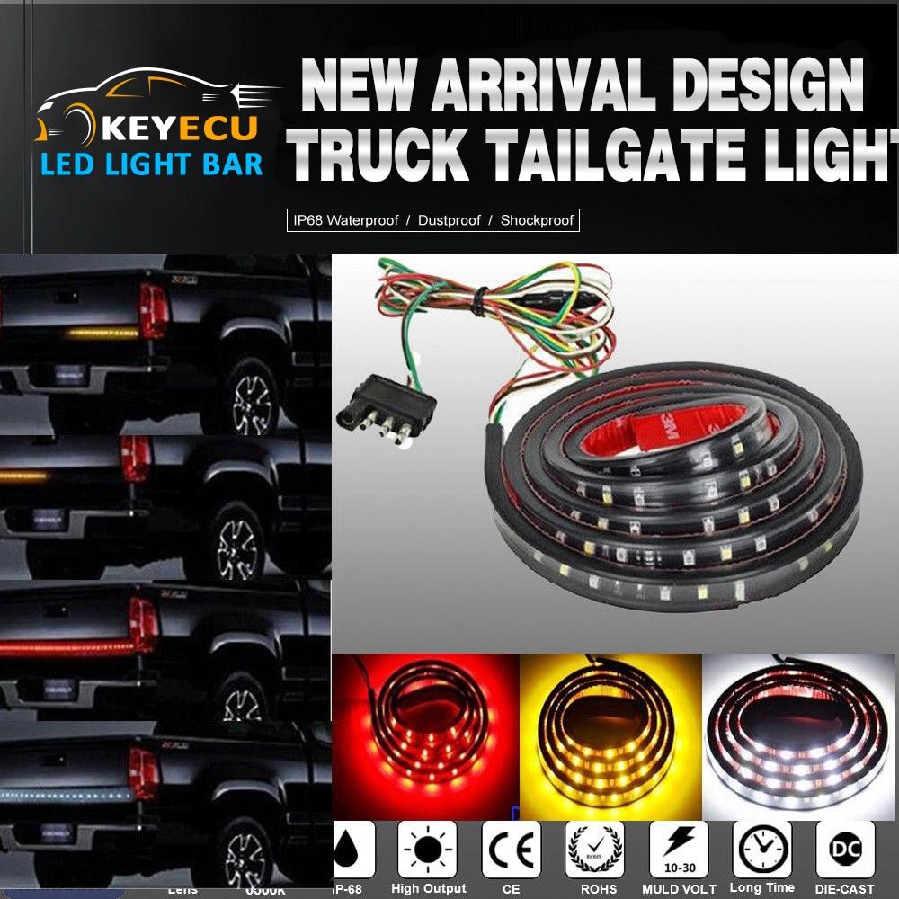 60\'\' Double Row LED Truck Tailgate Light Bar Strip Red/White Reverse ...