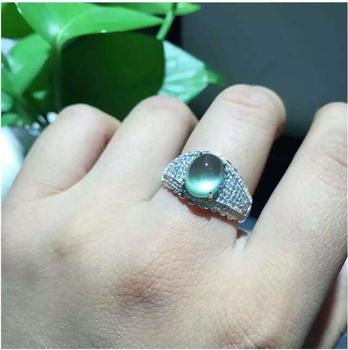 Unisex Natual Prehnite  Ring Free shipping Natural real Prehnite Ring 925 sterling silver Gem Size 8*10mm