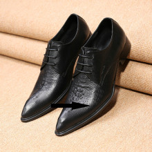 где купить Classic mens pointed toe dress shoes lasts black genuine leather lace up oxford shoes for men male prom formal wedding flats по лучшей цене