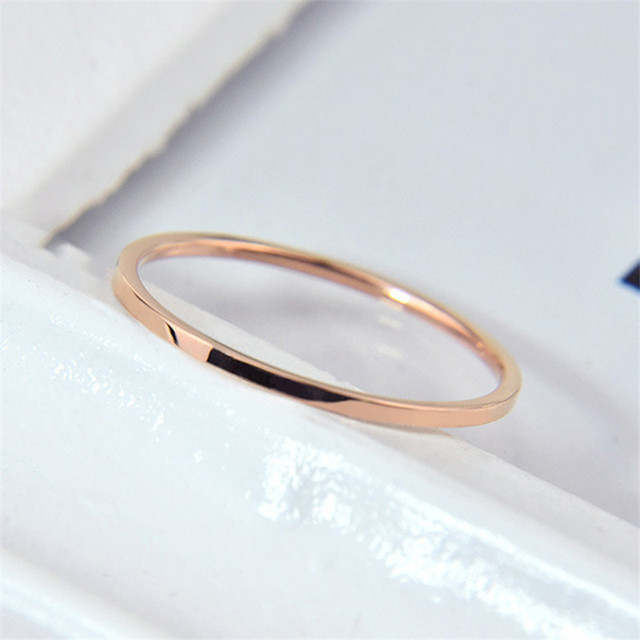 ZRAY (1 MM) Simple Thin Titanium Steel Gold Silver Black Color Anti-allergy Smooth Couple Wedding Ring Women Men Fashion Jewelry 4
