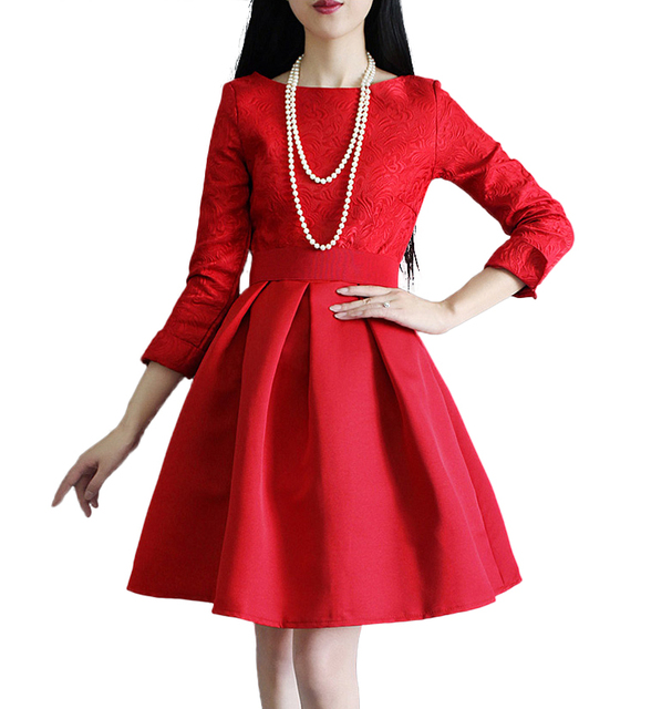2016 new autumn winter dress women party dresses plus size women red black Ball Gown dress slim high-waist dress