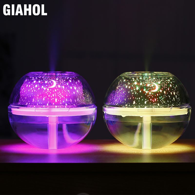 500ml USB Crystal Night Light Humidifier With LED Lights Super Mute Aroma Atomizer Diffuser Ultrasonic Mist Maker For Home Gold