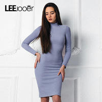 LEEJOOER Blue Knitted Vintage Dress 2017 Women S Autumn Winter Bodycon Dress Long Sleeve Turtleneck Fitness