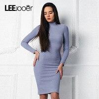 LEEJOOER Blue Knitted Vintage Dress 2017 Women S Autumn Winter Bodycon Dress Long Sleeve Turtleneck Fitness