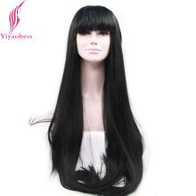 Yiyaobess Heat Resistant Straight Lace Front Wig Synthetic Long Black Wigs For African American Women Hairstyles With Bangs