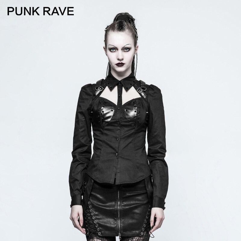 Rave Frauen Bluse Design Dekoration Shirts Black Retro Top Steampunk Kleidung Hemd Baumwolle Niet Damen Sexy Langarm 788 Punk Rock Y ulFKJ3T1c