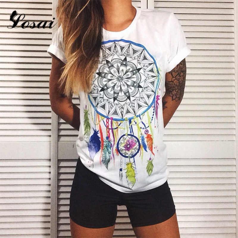 Plus Size 4XL 2019 Summer 3D Print India Totem T-shirts White Sunflower Printed T Shirt O-neck Women Tops Flower Tees Punk Shirt