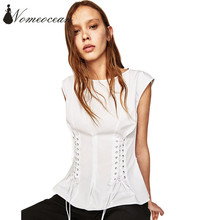 530cf69cbb7af6 Corset Design Lace-up Waist Women Shirts 2017 Summer Short Sleeve Blouses  Fashion Tops of