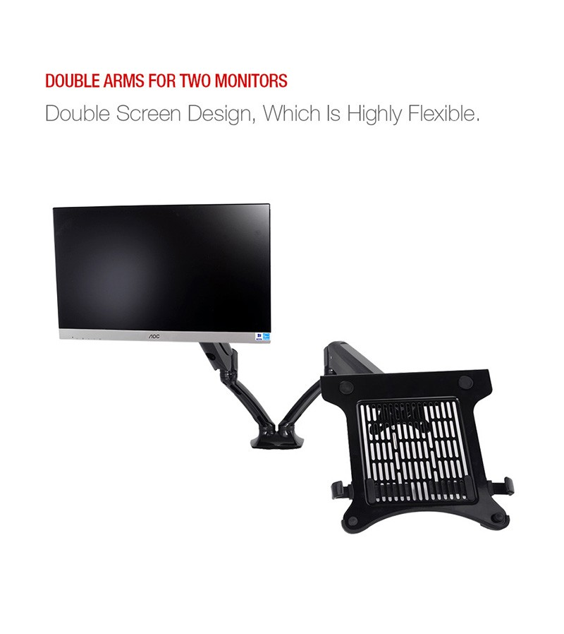 Desktop Full Motion Gas Spring Dual Monitor Mount Display Stand for 10~27 Monitor and 10~15.6 Laptop Max Suppprt 5KG Per Arm