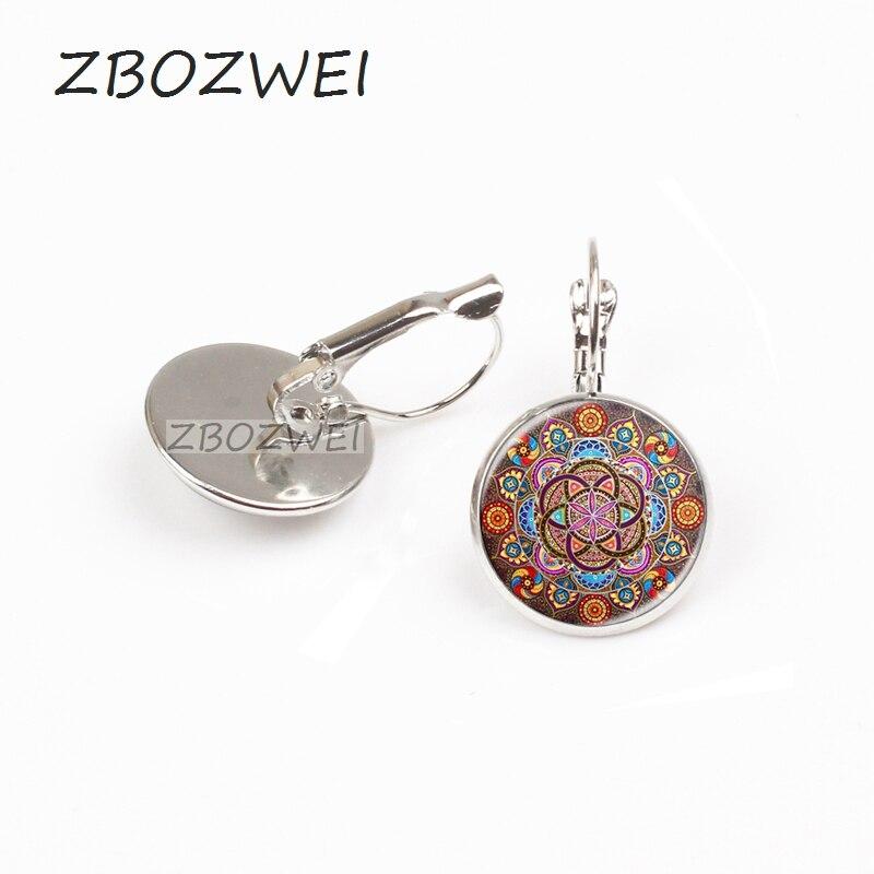 ZBOZWEI 2018 New Steampunk earring mandala earring chakra OM jewelry for women glass cabochon earring Zen gifts jewellery