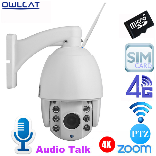OwlCat 3516C+1/2.8 SONY323 Low Lux HD 1080P 960P 4X Optical Zoom Outdoor PTZ Dome IP Camera 3G 4G SIM Card SD Card Night Vision