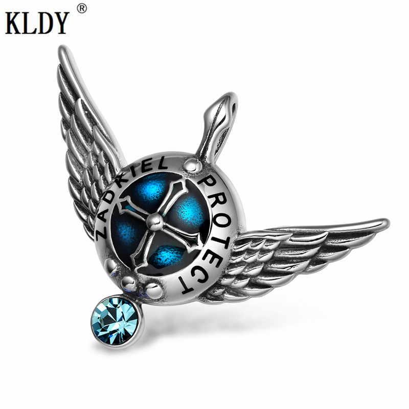 KLDY Sky Blue Đá Tự Nhiên Mặt Dây Chuyền Đôi Wings Thời Trang Thiên Thần Amulet Pendant Necklace Chất Lượng Thép Không Gỉ Cổ Áo Trang Trí