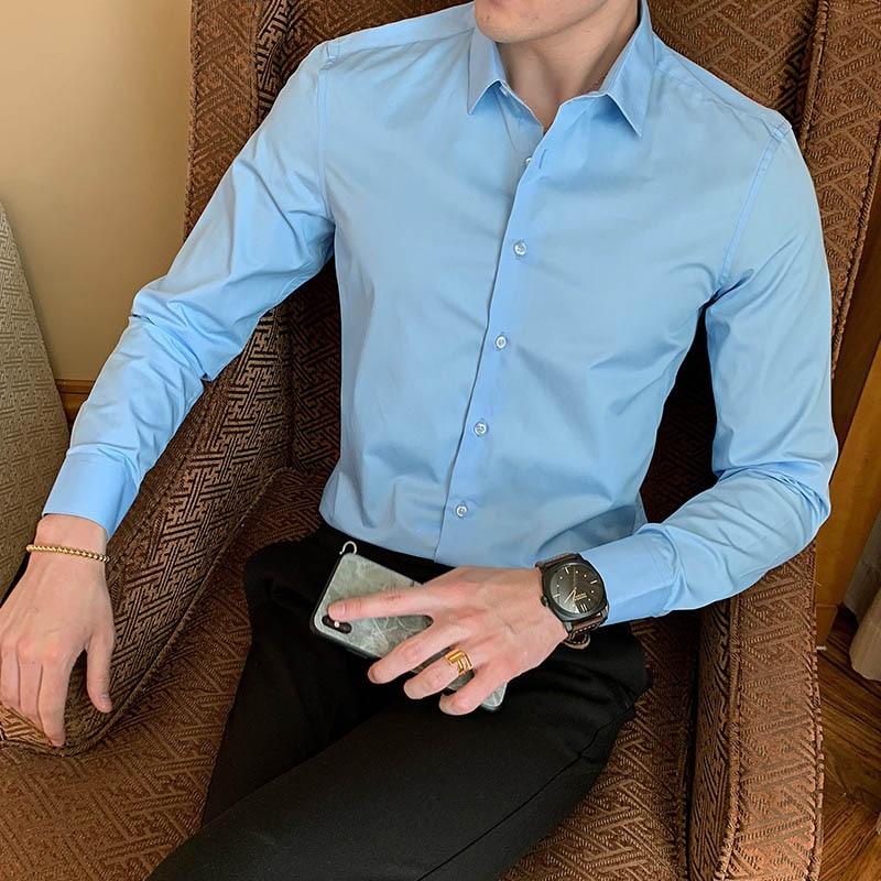 2021 New Fashion Cotton Long Sleeve Shirt Solid Slim Fit Male Social Casual Business White Black Dress Shirt 5XL 6XL 7XL 8XL 5