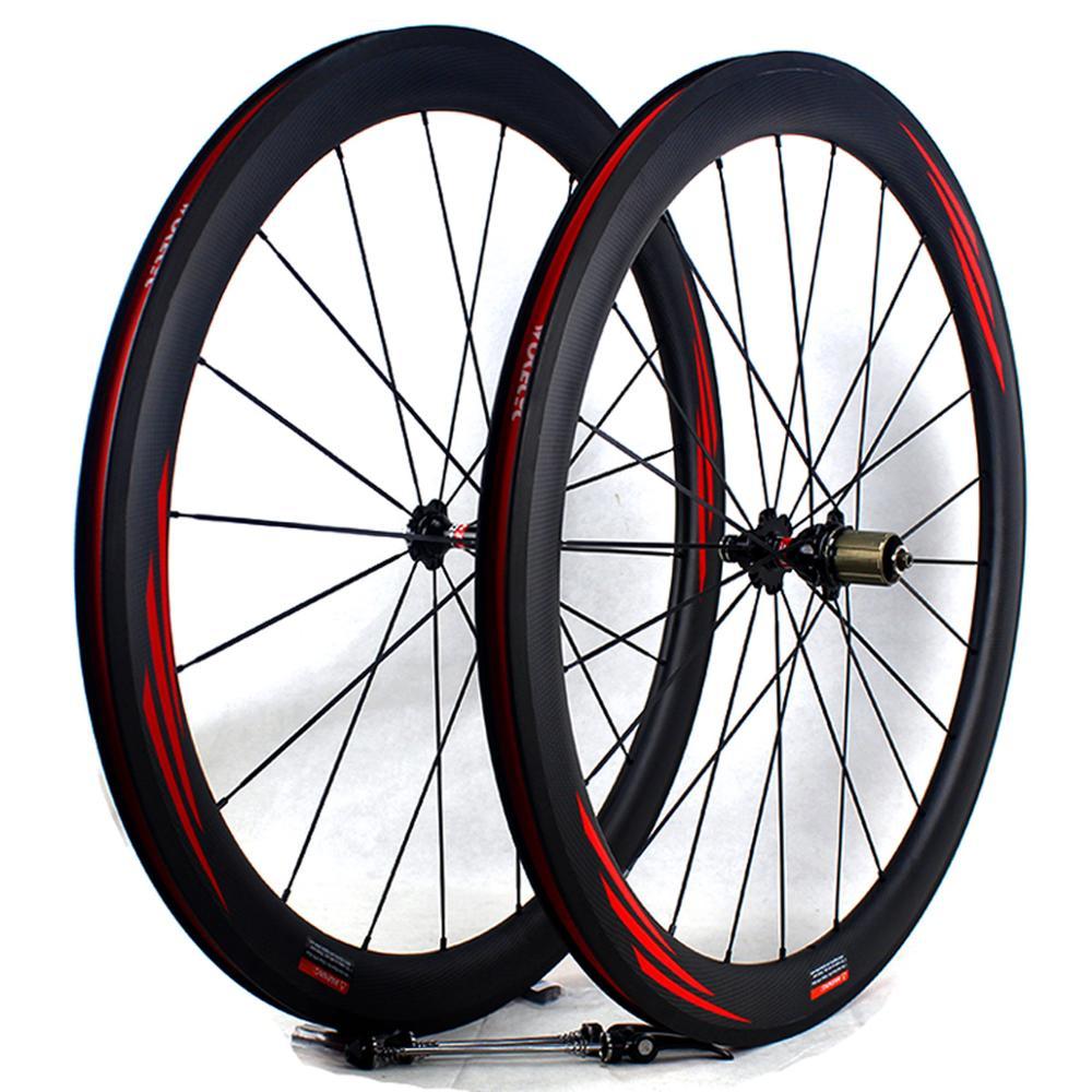 Carbon Road bike wheels 50mm 700C Carbon fiber bicycle cycling racing road wheelset clincher wheel rim