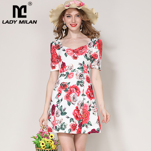 Lady Milan 2018 Womens Square Neckline Short Sleeves Floral Printed A Line Fashion Short Dresses