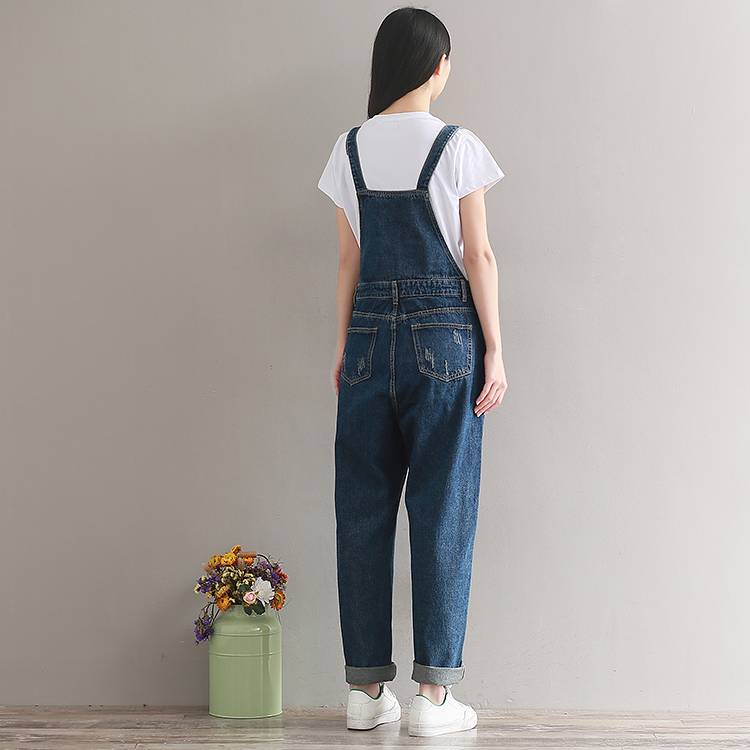 2019  Artistic wash denim cotton suspenders for girls with wide legs (13)
