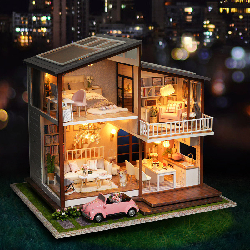 Oyuncaklar ve Hobi Ürünleri'ten Oyuncak Bebek Evleri'de Ev Bebek Diy Minyatür Dollhouse Kiti LED Ahşap Durumda Delle Bambole Grande Yavaş Zaman Bebek Evi Büyük Juguetes Kızlar hediyeler'da  Grup 1
