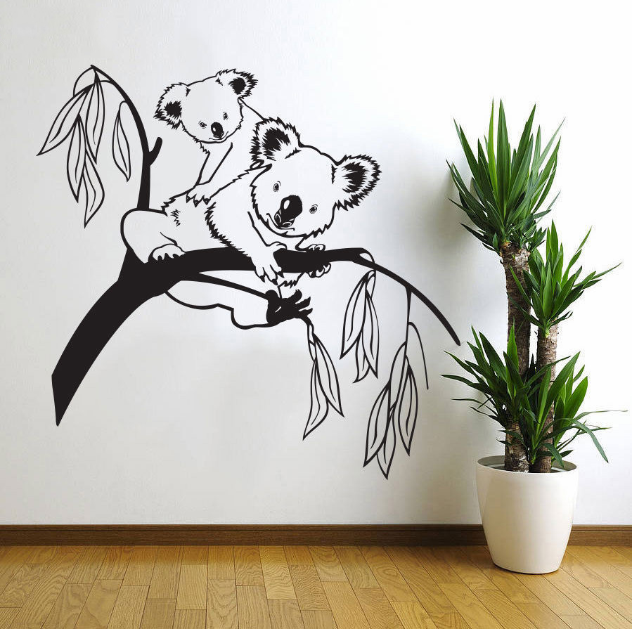 Cute Animal Wall Decals Tree Bear Cute Animal Room Decoration Vinyl Art Design Poster Mural Kids Room Decor W367 in Wall Stickers from Home Garden