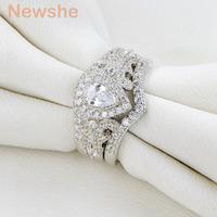 Newshe 2017 New Arrival 1 3 Ct Pear Shape AAA CZ 925 Sterling Silver 3 Pieces