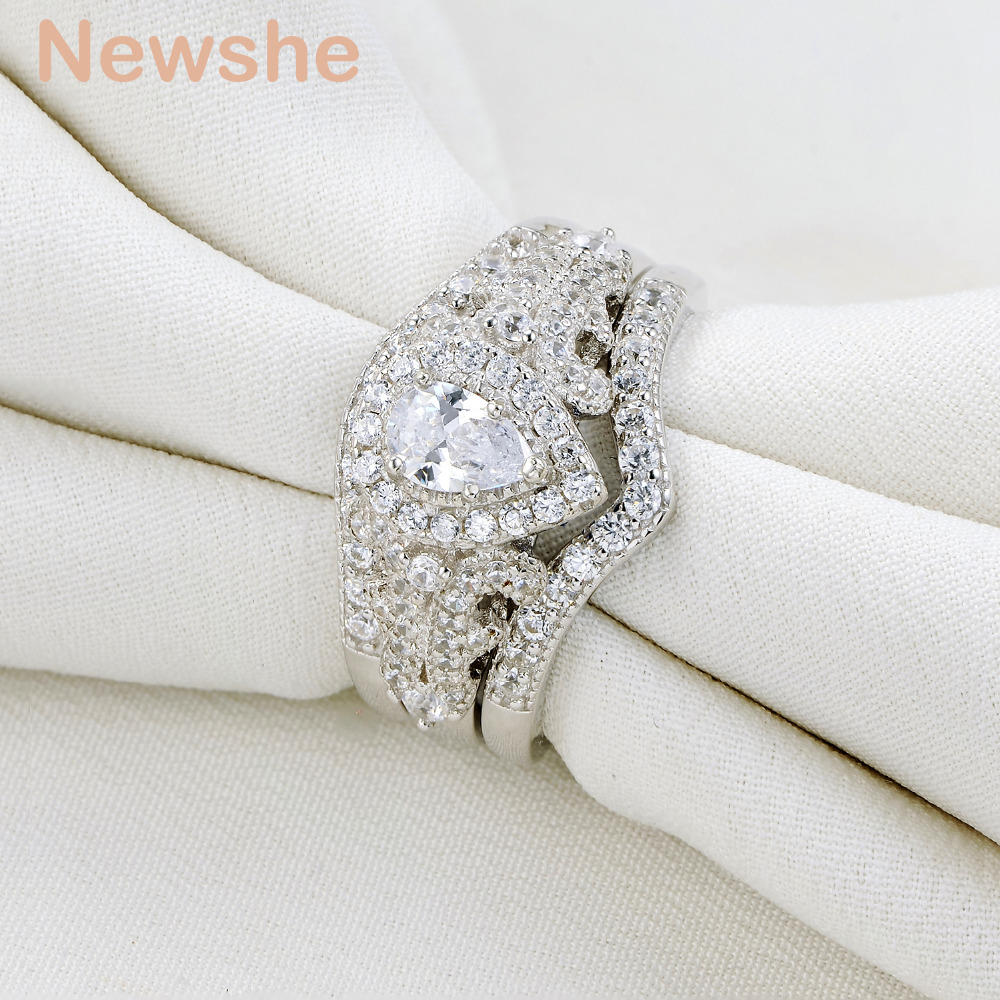 Newshe 3 Pcs Wedding Ring Sets Classic Jewelry 925 Sterling Silver 1.4 Ct AAA CZ Pear Shape Engagement Rings For Women NR5015