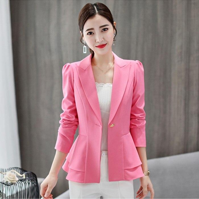 Elegant Ruffle Blazer Coat 2019 Autumn Women Blazer Office Ladies Plus Size Business Slim Jacket