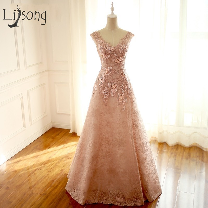 Nude Pink Lace Evening Dresses With 3D Flower Long Evening Gowns ...
