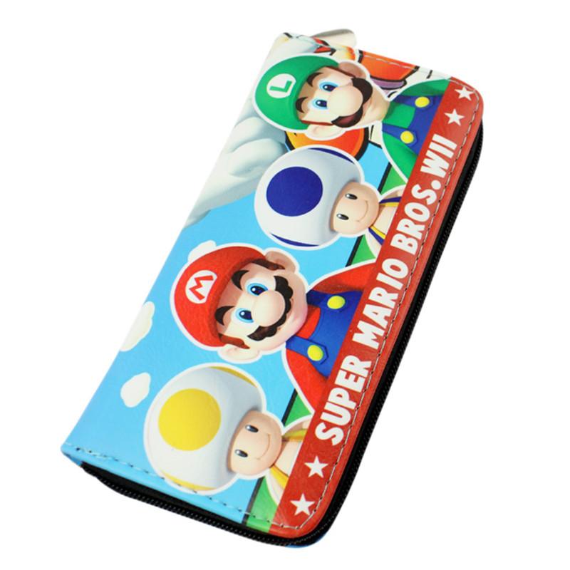 New PU Leather Wallet Long Bag printed with Super Mario bros will zipper Bag ...