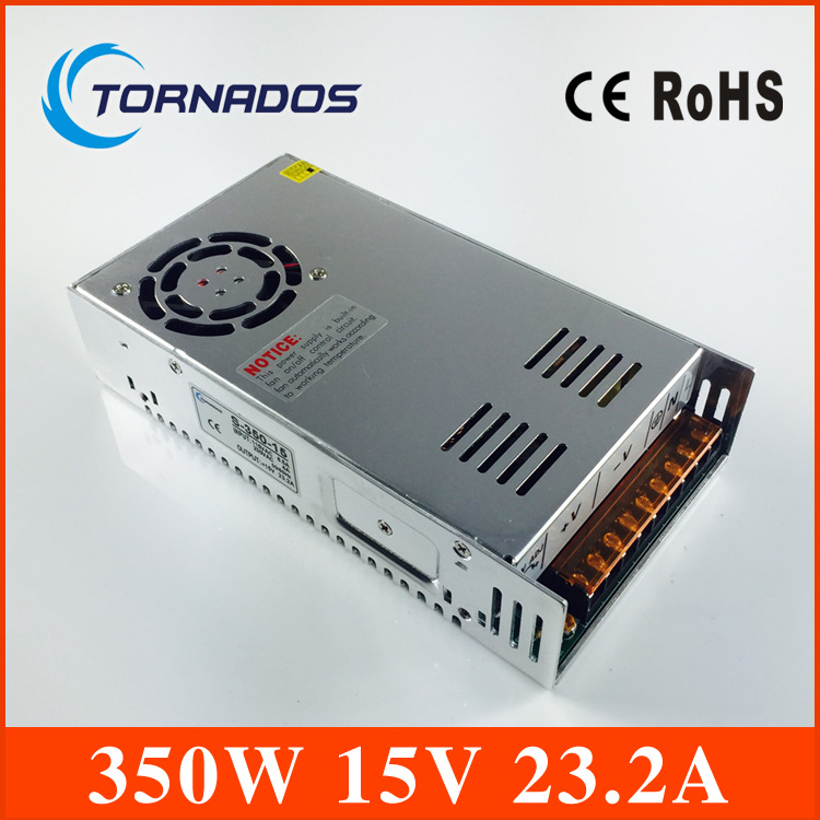 цена на Free shipping high quality s-350-15 350W 15V 23.2A Single Output Switching power supply for LED Strip light AC to DC