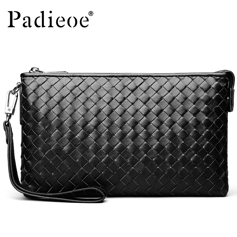 ФОТО Padieoe Luxury Knitting Design Men Wallet Genuine Leather Top Sheepskin Men Wallet Clutch Plaid Purse Carteira Masculina