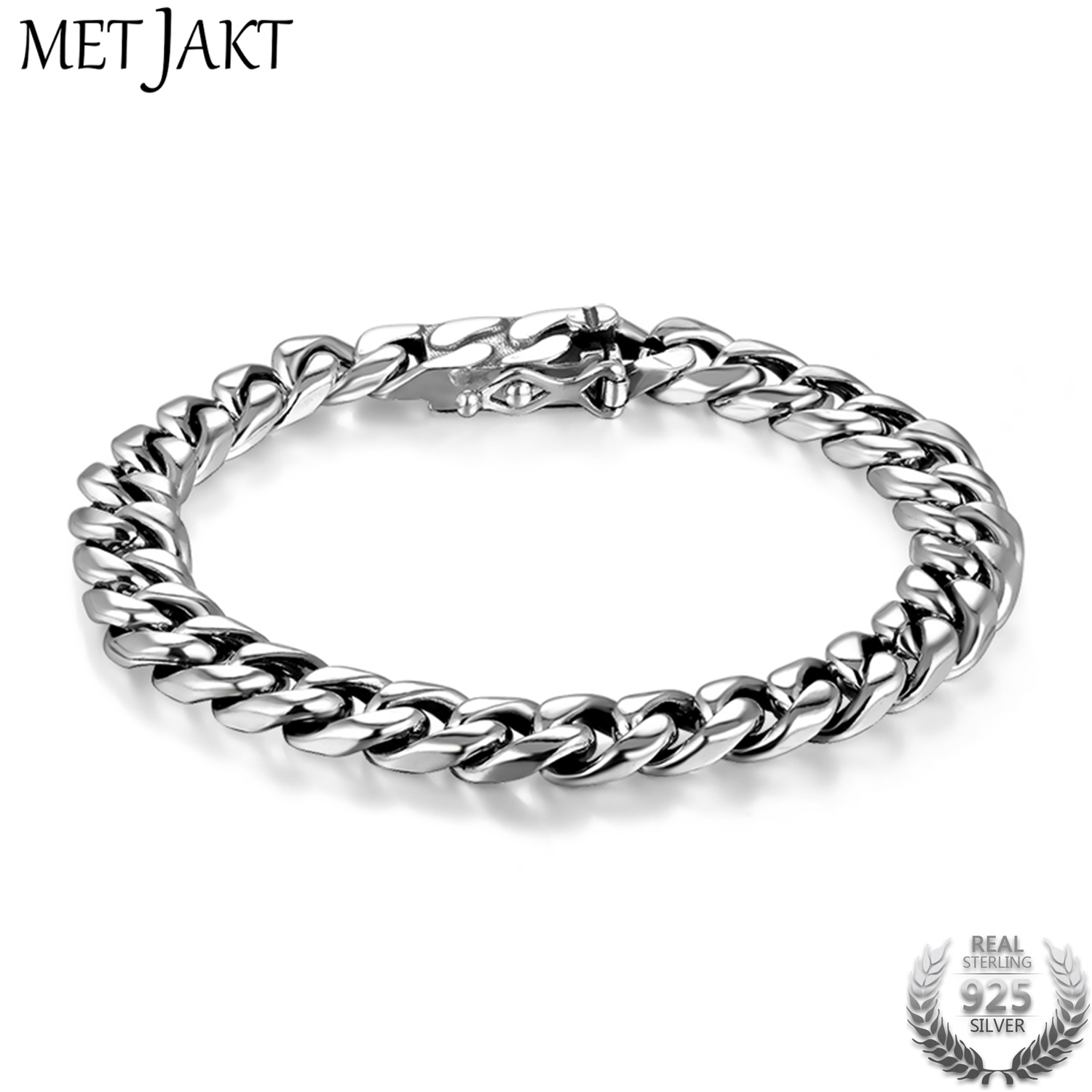 MetJakt Handmade Personalized Whip Chain Bracelet Solid 925 Sterling Silver Plug Bracelet for Unisex Jewelry 18cm