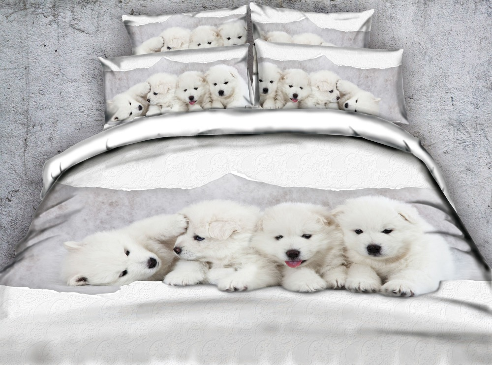 Aliexpress Com Buy White Dogs 3d Bedding Set Comforter