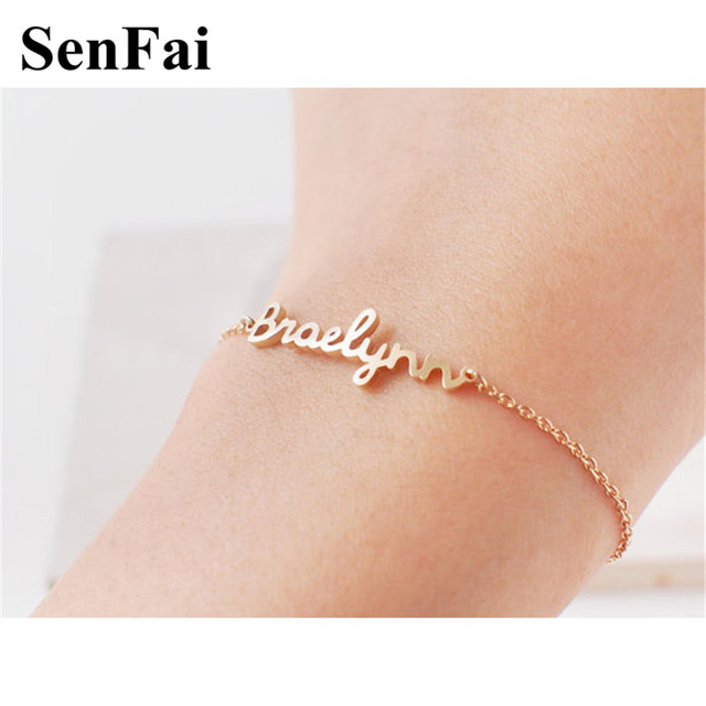 Us 10 88 Senfai Name Bracelet Customize Personalized Bracelets Bangles For Women Men Kids Baby Charms Cuff Jewelry Dogs Boys Girls Gift In Chain