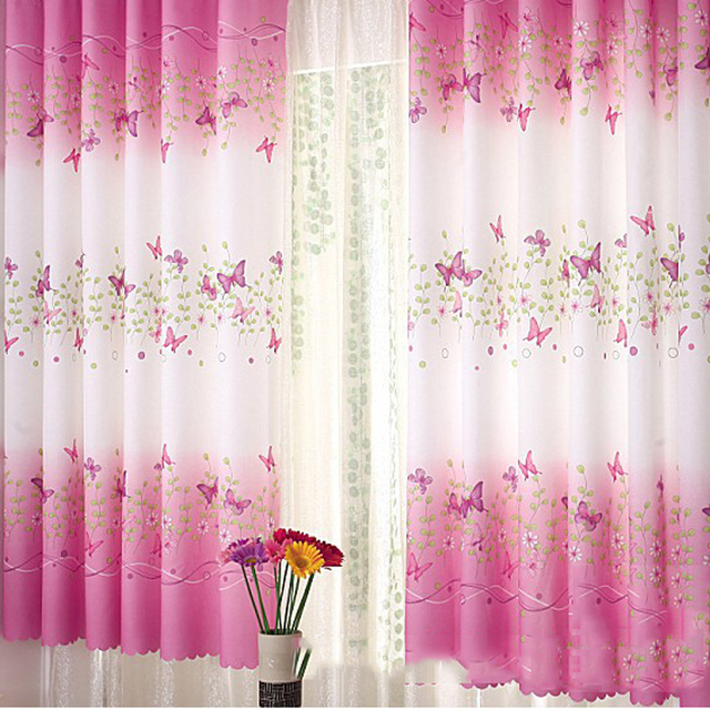 Home Decoration Freshness Butterfly Printed Window Curtains Hook ...