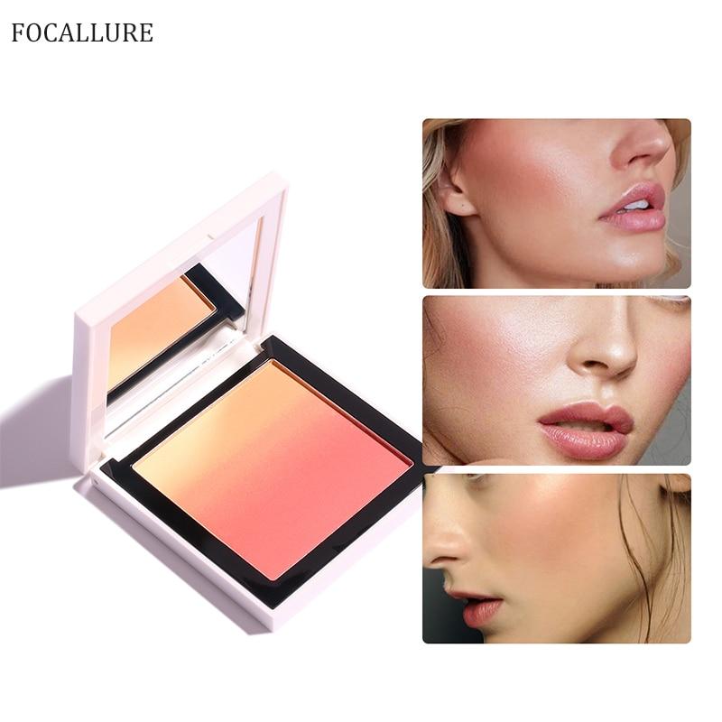FOCALLURE Rosto Corar paleta bochecha rosa à prova d' água de longa duração de seda Natural orange pó blush maquiagem profissional