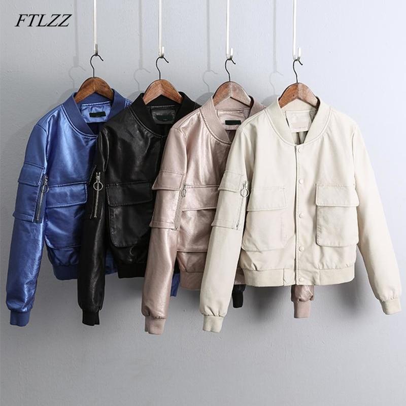 FTLZZ New Bright Side Pu   Leather   Jacket Autumn Women Bright Pu Faux   Leather   Jacket Bomber Baseball Short Outerwear Coat