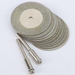 Image 3 - 10 pièces 35mm dremel accessoires pierre Jade verre diamant dremel disque de coupe ajustement outil rotatif Dremel forets outil avec deux mandrin