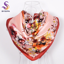 [BYSIFA] Spring Autumn Floral Silk Scarf Imitated For Ladies Fashion Women Accessories Orange Pink Large Square Satin Scarves